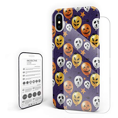 Cases Cover for iPhone X [Built-in Screen Protector] Slim Fit Hard Plastic Shell Full Protective Anti-Scratch Fingerprint Cover for Apple Phone 5.8 Inch - Halloween Terror Balloon and Spider]()