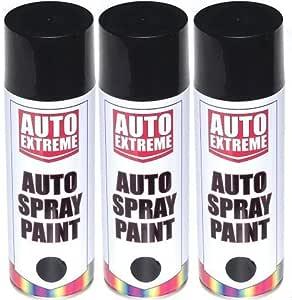 3 x negro satinado brillante Spray de pintura aerosol puede Auto ...