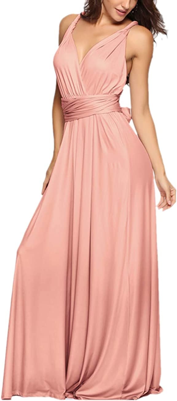 TALLA L. EMMA Mujeres Falda Larga de Cóctel Vestido de Noche Dama de Honor Elegante sin Respaldo Rosa
