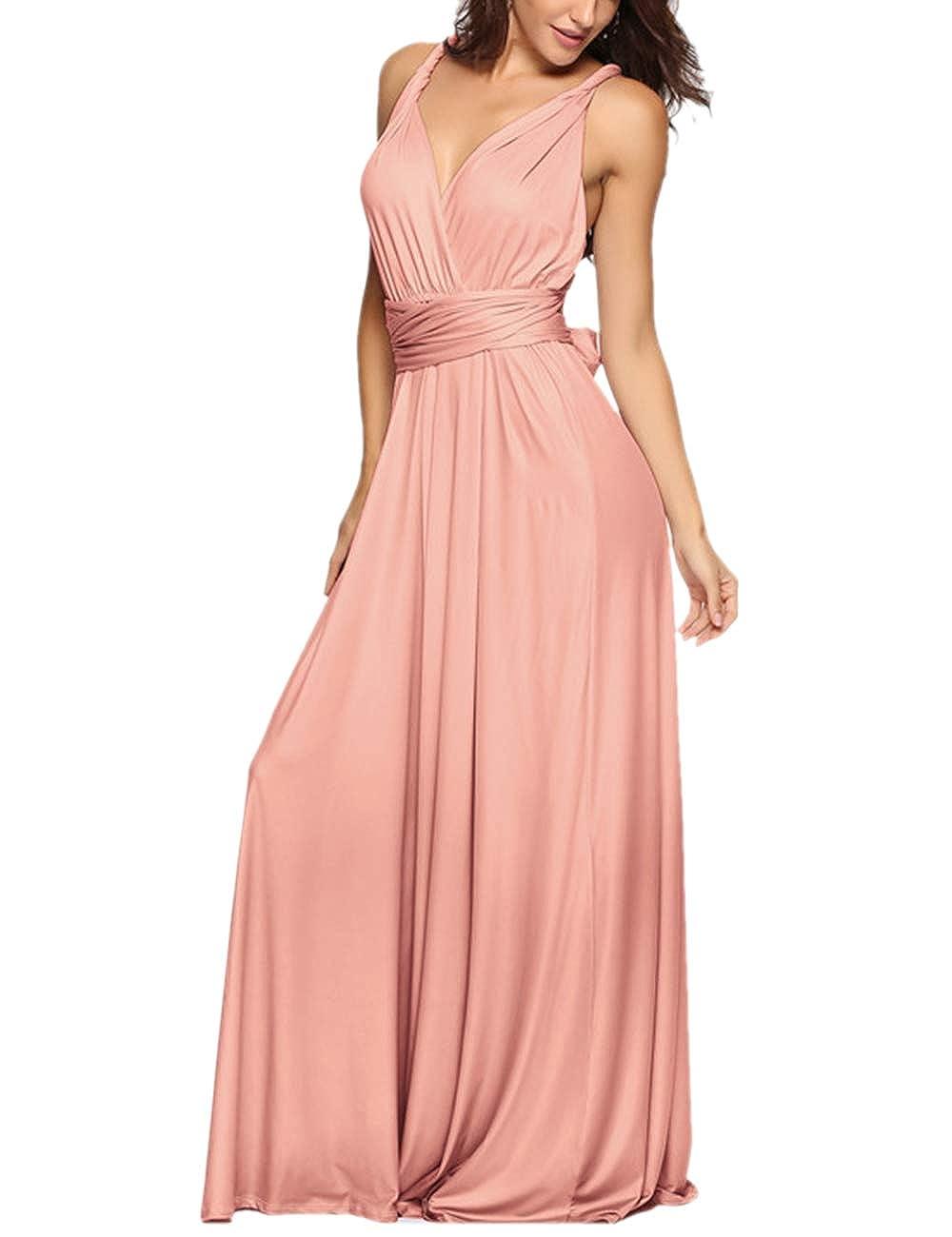 TALLA XL. EMMA Mujeres Falda Larga de Cóctel Vestido de Noche Dama de Honor Elegante sin Respaldo Rosa XL
