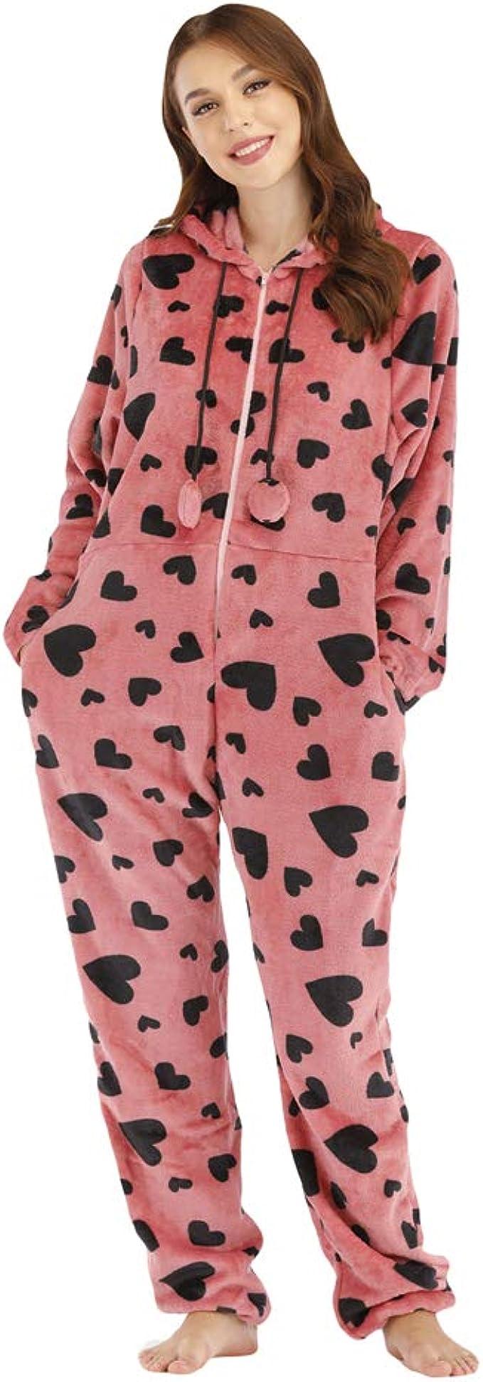 YuanDiann Mujer Pijamas Enteros, Linda Impresión Corazón del ...