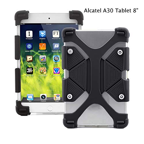EAGWELL Alcatel A30 Tablet 8 Case, for T-Mobile Alcatel A30 8-inch Tablet Model 9024W 2017 Released - Shockproof Silicone Stand Case , Black