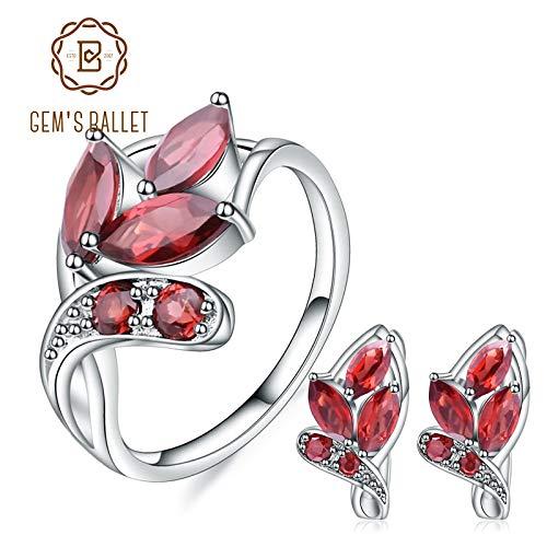 (LTH12 Jewelry Sets - Leaf Shape Natural Garnet Earrings Ring Set 925 Sterling Silver Gemstone Jewelry Set for Women Gift Fine Jewelry 1 PCs)
