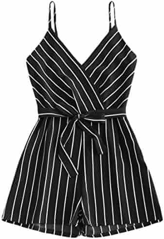 9c32644561de Women Summer Striped Short Romper Jumpsuit Casual V Neck Sleeveless Strappy  Cami Beach Playsuit