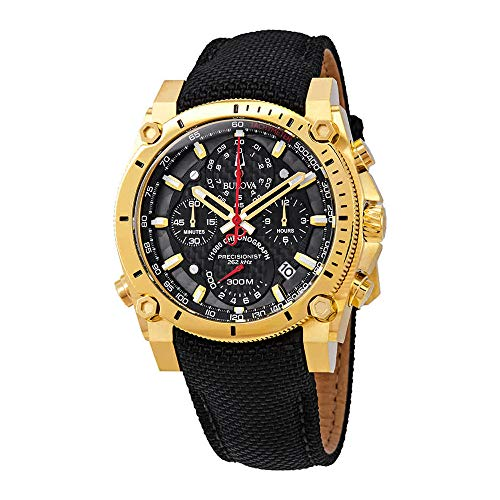 Men's Bulova Precisionist Chronograph Gold Tone Black Strap Watch 97B178