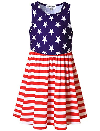 Little Girls USA Flag Dresses Elastic Waist 4th July Party Dresses for Kids