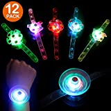 Satkago 12 Pack Spinner Light Up Bracelet Toys, Glow in The Dark Wristband Birthday Party Favors for Boys Girls Kids Prizes Classroom LED Neon Party Supplies