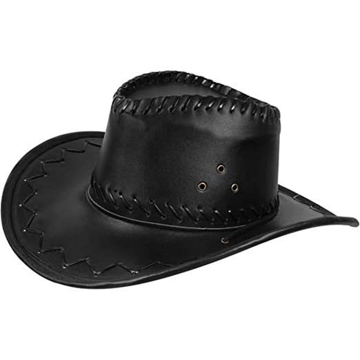 71588c8ea04 Amazon.com  Adult Black Leather Cowboy Hat  Clothing
