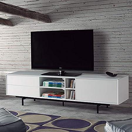 Mueble TV Design Color Blanco y Metal Negro Lack: Amazon.es: Hogar