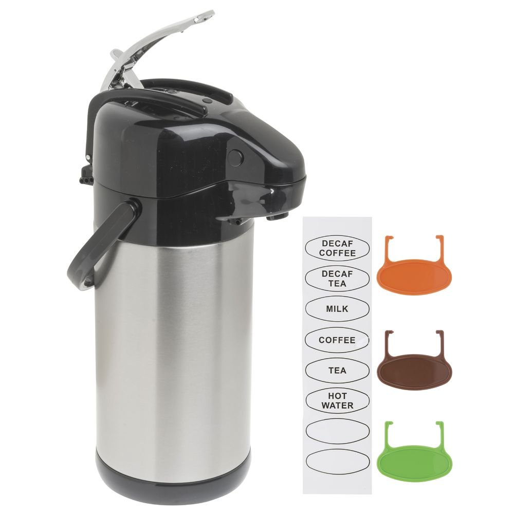 HUBERT Airpot Coffee Dispenser with Lever Lid, Thermal 2.5 Liter
