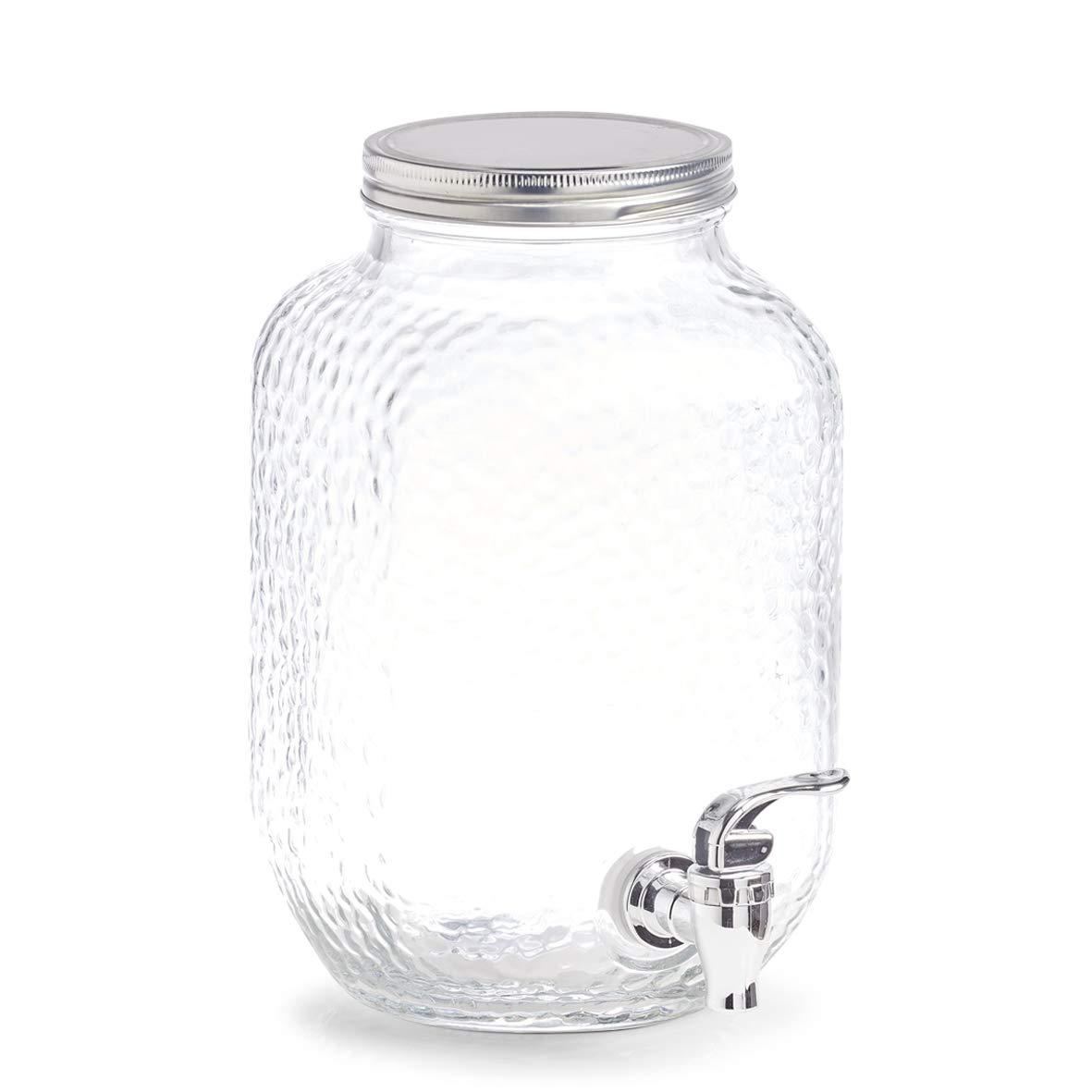 3,7 ltr 4 x 15 20 4 cm Glas//Metall 2 x 25 transparent ca Zeller Getr/änkespender