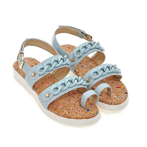 Solid Toe Heels Women's Blue VogueZone009 Low Sandals PU Buckle Open 6x5qnwYP