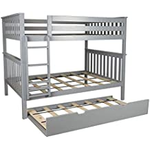 Max & Lily Solid Wood Full over Full Bunk Bed with Trundle Bed, Grey