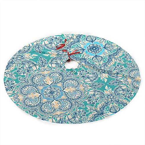 YIERLING120 Gypsy Floral in Teal Christmas Tree Skirt 35.5 Inch Merry Christmas Tree,Tree Skirt for Xmas Decor Festive Holiday Decoration ()