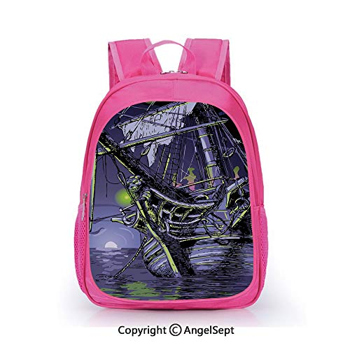 Fashion Kindergarten Children Waterproof Bookbag,Ghost Ship on Fantasy Caribbean Ocean Adventure Island Haunted Vessel Decorative Purple Lime Green,15.7inch,Elementary School Travel Bag For Girls - Hydration Vessel