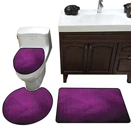 Sensational Eggplant Bath Mat And Toilet Mat Set Abstract Purple Squares In Faded Color Scheme With Modern Art Inspired Style Pixelart Bathroom Toilet Mat Set Home Interior And Landscaping Ologienasavecom