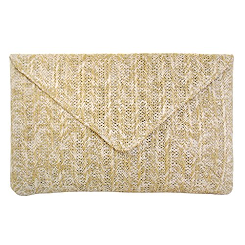 JNB Women's Straw Envelope Clutch Natural