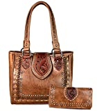 Trinity Ranch Saddle Stitch Tote w/ Tooled Leather + Organizer Wallet- Brown
