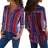 Womens V Neck Button up Color Block Stripes Blouse Casual Tops Long Sleeve Shirt (M, Red)