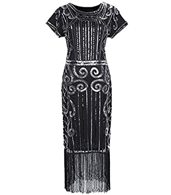 1920s Style Sequin Beaded Fringe Flapper Dress