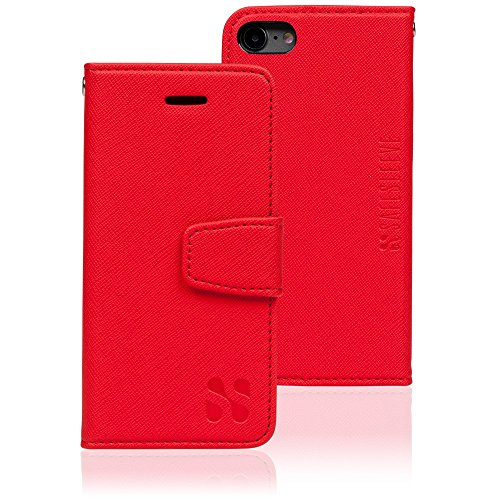Anti Radiation RFID iPhone Case: iPhone 7 and iPhone 8 ELF & RF Blocking Identity Theft Protection Wallet (Red) by SafeSleeve