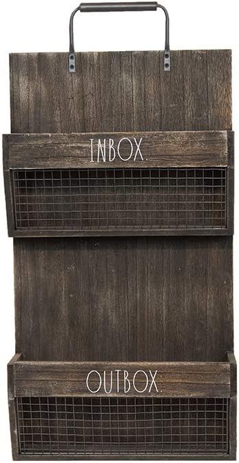 Rae Dunn Wall File Holder 2 Tier Vintage Wooden Inbox And Outbox With Galvanized Steel Wire Document And Paperwork Organization And Storage Mounts To Wall And Doors Office Products