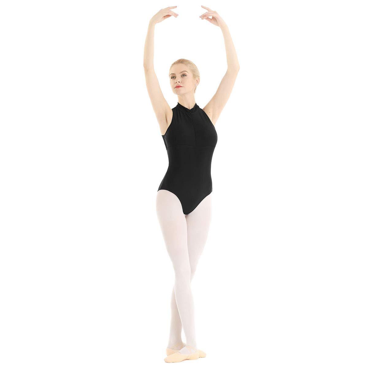 dPois Womens Girls Zipper Front Mock Neck Mesh Back Ballet Dress Gymnastics Leotard Dancewear