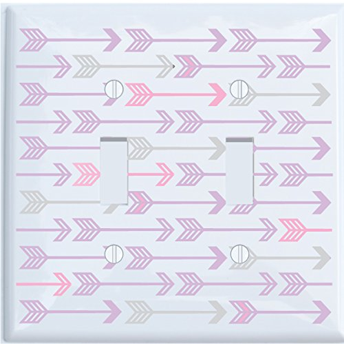 Single Toggle and Grey Arrow Print Light Switch Plate Covers//Arrows Woodland Forest Nursery Wall Decor for Baby Girls Single Toggle Pink