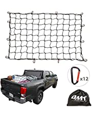 """Orion Motor Tech Cargo Nets for Pickup Trucks, 3'x4' Latex Cargo Net Stretches to 6'x8' Universal Heavy Duty Truck Bed Net,12 Tangle-Free D Clip Carabiners, 4""""x4"""" Mesh Holds Small Large Loads Tighter"""