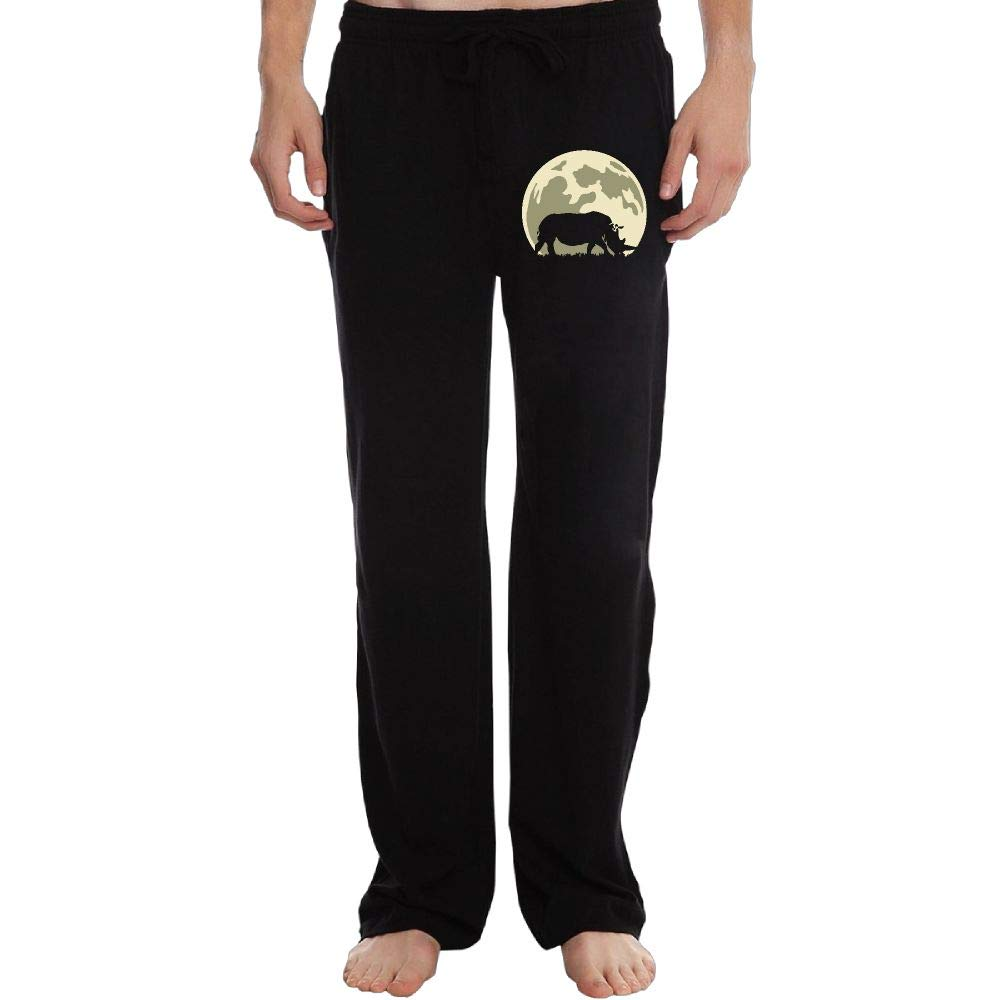 Sweatpants for Mens Casual Rhino On The Moon 100/% Cotton Sports Pants