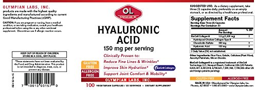 Olympian Labs Hyaluronic Acid 150 mg. 100 veg caps/ 33 servings by Olympian Labs (Image #1)