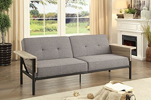 Cottage Furniture Futon (Bandoran Gray Futon Sofa w/Armrests as Tables by Furniture of America)