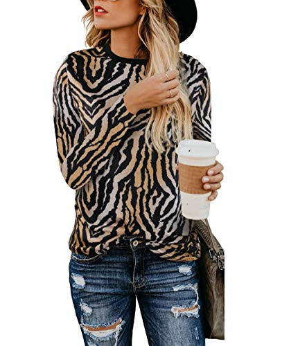 Women's Leopard Print Blouses Long Sleeve Cheetah Tunics Pullover Camouflage Printed Tops Shirts(Brown Zebra-52 S)