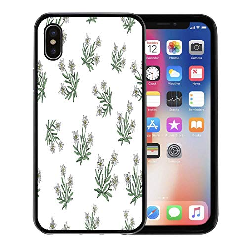 Emvency Phone Case for Apple iPhone Xs Case/iPhone X Case,Pattern Black Alpine Edelweiss Flower Silver Austria Beauty Blossom Soft Rubber Border Decorative, Black