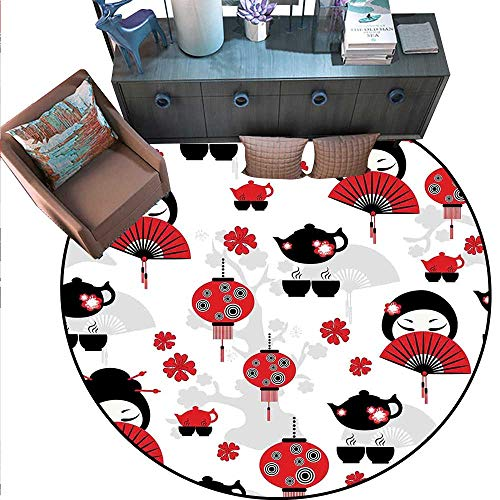 Lantern Print Area Rug Geisha Japanese Fan Ancient Chinese Traditional Tea Pot Lanterns Floral Graphic Design Home Decor Foor Carpe (6' Diameter) Black Red