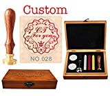 MNYR Vintage Custom Two Initials for You Decorative Circle Cursive Monogram Personalized Design Logo Picture Rosewood Wax Seal Sealing Stamp Spoon Sticks Candle Wood Box Gift Wedding Invitations Set