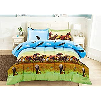3 Piece Set Wild Horse and Eagle 3d Comforter Set  Y25  Queen. Amazon com  Thunder Run Horses Bed in a Bag Set  Full  Home   Kitchen