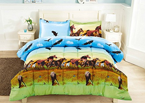 2 Piece Set Wild Horse and Eagle 3d Comforter Set (Y25) (Horse Comforter)