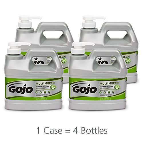 GOJO MULTI GREEN ECO Hand Cleaner, 1/2 Gallon EcoLogo Certified Gel Style Hand Cleaner with Pumice Scrubbers Pump Bottles (Pack of 4) – 0989-04 ()