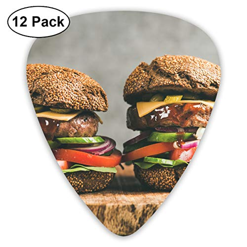 KIMBERLYBLAINE Beef Meat Cheeseburgers with Barbeque Sauce Guitar Picks Premium Picks Sampler Includes Thin, Medium, Heavy Gauges 12 Pack