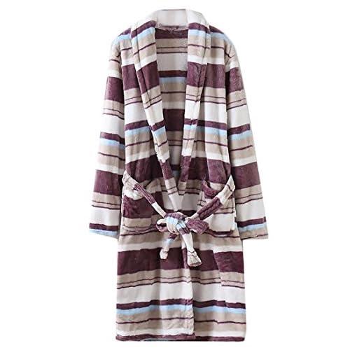 Cruiize Men's Winter Flannel Warm Stripe Belted Loungewear Bathrobes for sale