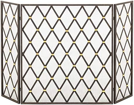 YXX-暖炉スクリーン 3-パネル錬鉄の暖炉のスクリーン、屋内/屋外の金属の装飾メッシュスパークガード、ベビー安全証明暖炉フェンス