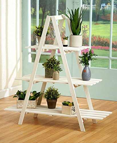 The Lakeside Collection 3-Tier A Frame Wood Shelving- White by The Lakeside Collection (Image #1)