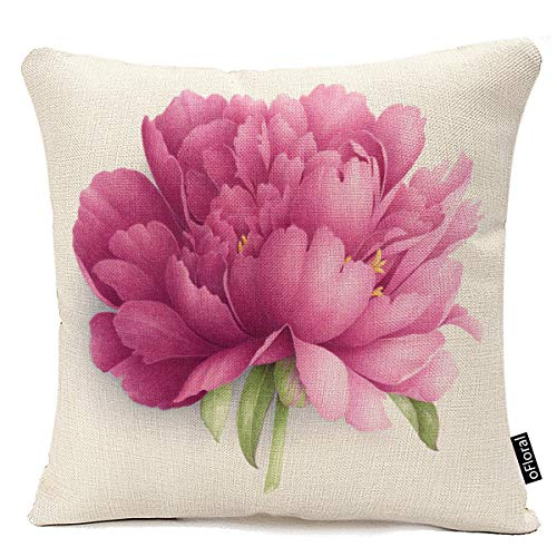 (18x18 Inche Vintange Flower Pattern Peony Floral Cotton Linen Throw Pillow Cover Home Decorative Pillow Case Cushion Cover)