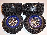Traxxas Summit 1 10 Tires and Wheels (4) for 17MM Hex Hubs - Blue