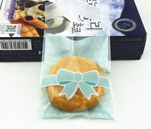 ONOR-Tech 100 PCS Lovely Cute Bowknot OPP Self Adhesive Cookie Bakery Candy Biscuit Treat Gift Diy Plastic Bag (blue)