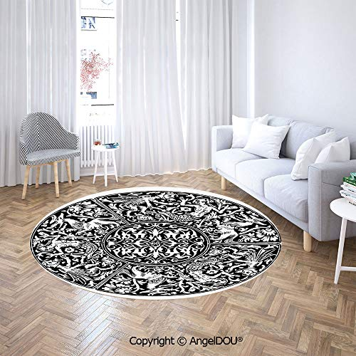 AngelDOU Round Carpets and Rugs Bedroom Living Room Renaissance Pattern Victorian Antique Mystical Gothic Medieval Symbols Sofa Chair Decor Anti-Slip Floor Mats.