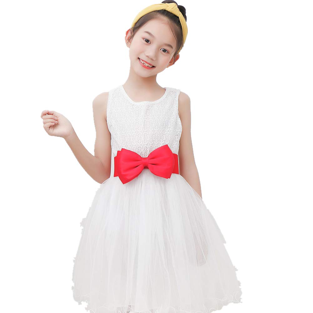 Kid Elastic Bow-Knot Stretch Waist Belts Cinch For Little Girls Dresses Cummerbunds (Hot Pink, L-Waist(25''-30'')) by Uroruns (Image #2)