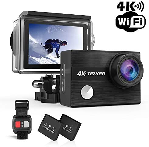 TENKER K1 4K Action Camera , WIFI 12MP Waterproof Sport Camera 170 Degree Wide View Angle 2.4G Remote Control 2 Rechargeable Underwater Cam Batteries and Kit of Accessories Black