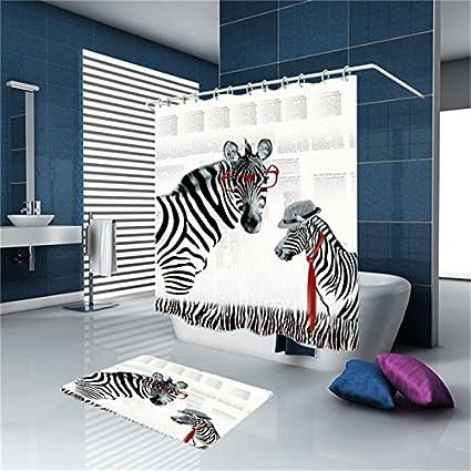 tkopainsde Digital 3d Kit alfombra de baño cortina de ducha de Zebra Magnifique – Cortina de